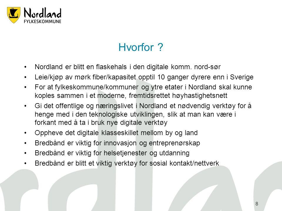 """7 Målsetting •Hele Nordland utbygget med stamme/aksesser og tilbud til """"alle"""" med min. 2 Mbit/s innen 2015 •Tilstrekkelig gjennomgående kapasitet på m"""
