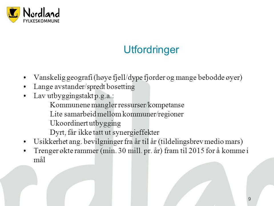8 Hvorfor ? •Nordland er blitt en flaskehals i den digitale komm. nord-sør •Leie/kjøp av mørk fiber/kapasitet opptil 10 ganger dyrere enn i Sverige •F