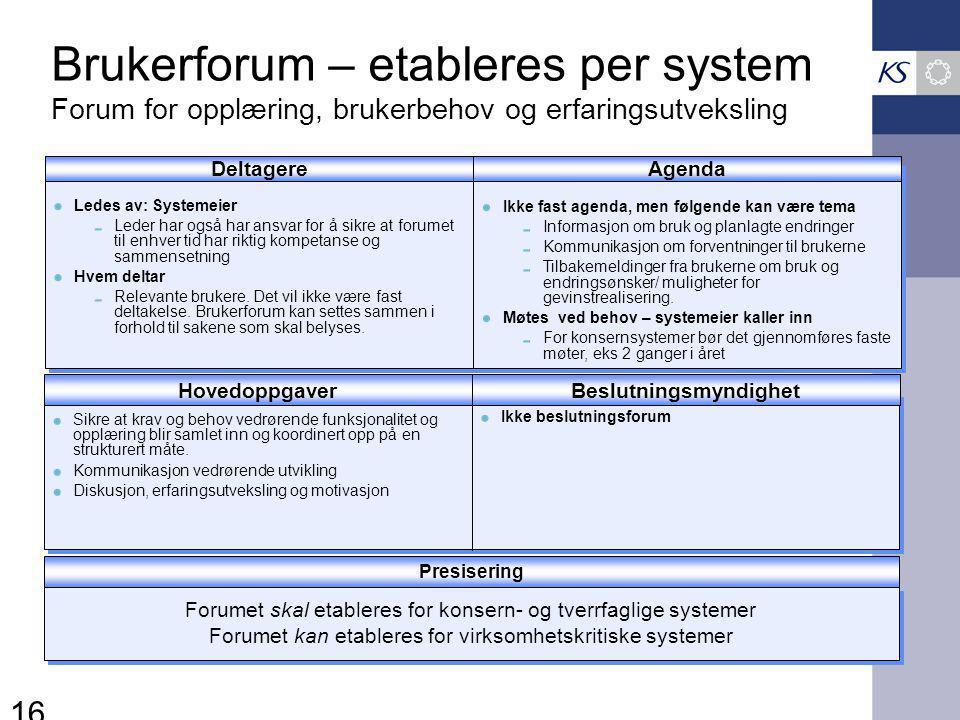 16 Brukerforum – etableres per system Forum for opplæring, brukerbehov og erfaringsutveksling HovedoppgaverBeslutningsmyndighet Ikke beslutningsforum Sikre at krav og behov vedrørende funksjonalitet og opplæring blir samlet inn og koordinert opp på en strukturert måte.