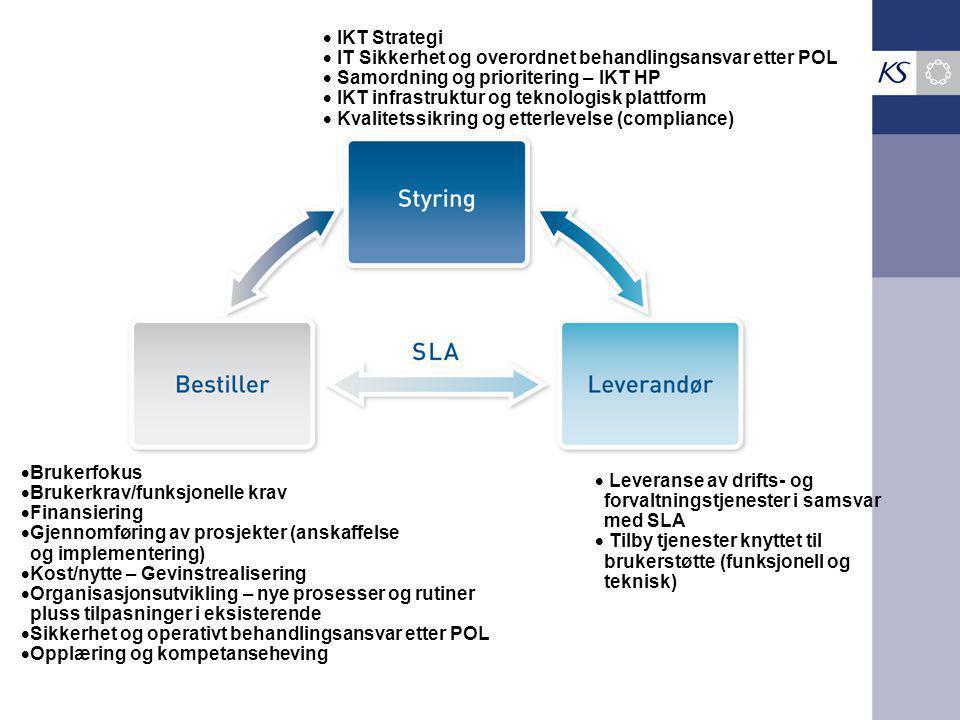  IKT Strategi  IT Sikkerhet og overordnet behandlingsansvar etter POL  Samordning og prioritering – IKT HP  IKT infrastruktur og teknologisk plattform  Kvalitetssikring og etterlevelse (compliance)  Leveranse av drifts- og forvaltningstjenester i samsvar med SLA  Tilby tjenester knyttet til brukerstøtte (funksjonell og teknisk)  Brukerfokus  Brukerkrav/funksjonelle krav  Finansiering  Gjennomføring av prosjekter (anskaffelse og implementering)  Kost/nytte – Gevinstrealisering  Organisasjonsutvikling – nye prosesser og rutiner pluss tilpasninger i eksisterende  Sikkerhet og operativt behandlingsansvar etter POL  Opplæring og kompetanseheving