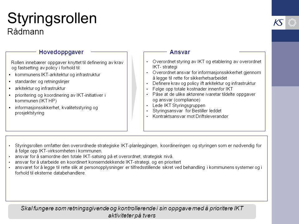 Styringsrollen Rådmann Rollen innebærer oppgaver knyttet til definering av krav og fastsetting av policy i forhold til:  kommunens IKT-arkitektur og