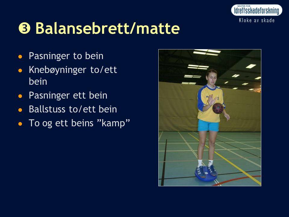 """Ž Balansebrett/matte  Pasninger to bein  Knebøyninger to/ett bein  Pasninger ett bein  Ballstuss to/ett bein  To og ett beins """"kamp"""""""