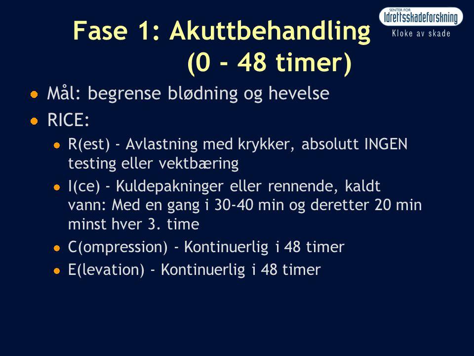 Fase 1: Akuttbehandling (0 - 48 timer)  Mål: begrense blødning og hevelse  RICE:  R(est) - Avlastning med krykker, absolutt INGEN testing eller vek