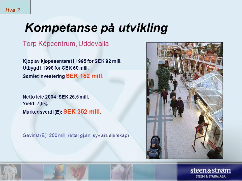 Kompetanse på utvikling Torp Köpcentrum, Uddevalla Kjøp av kjøpesenteret i 1995 for SEK 92 mill.