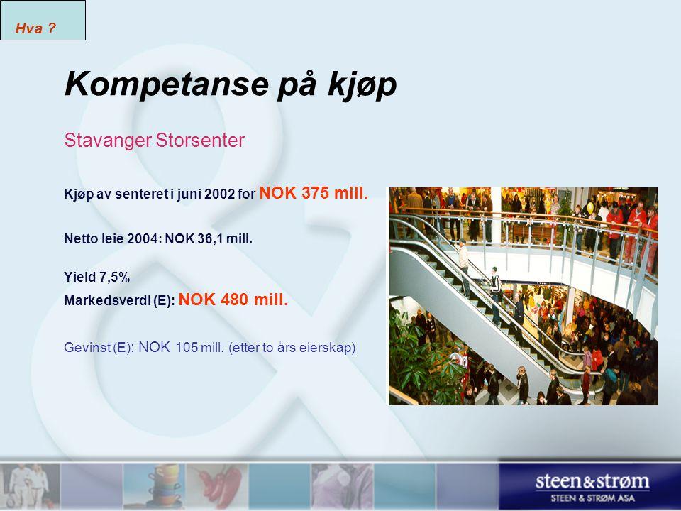 Kompetanse på kjøp Stavanger Storsenter Kjøp av senteret i juni 2002 for NOK 375 mill.