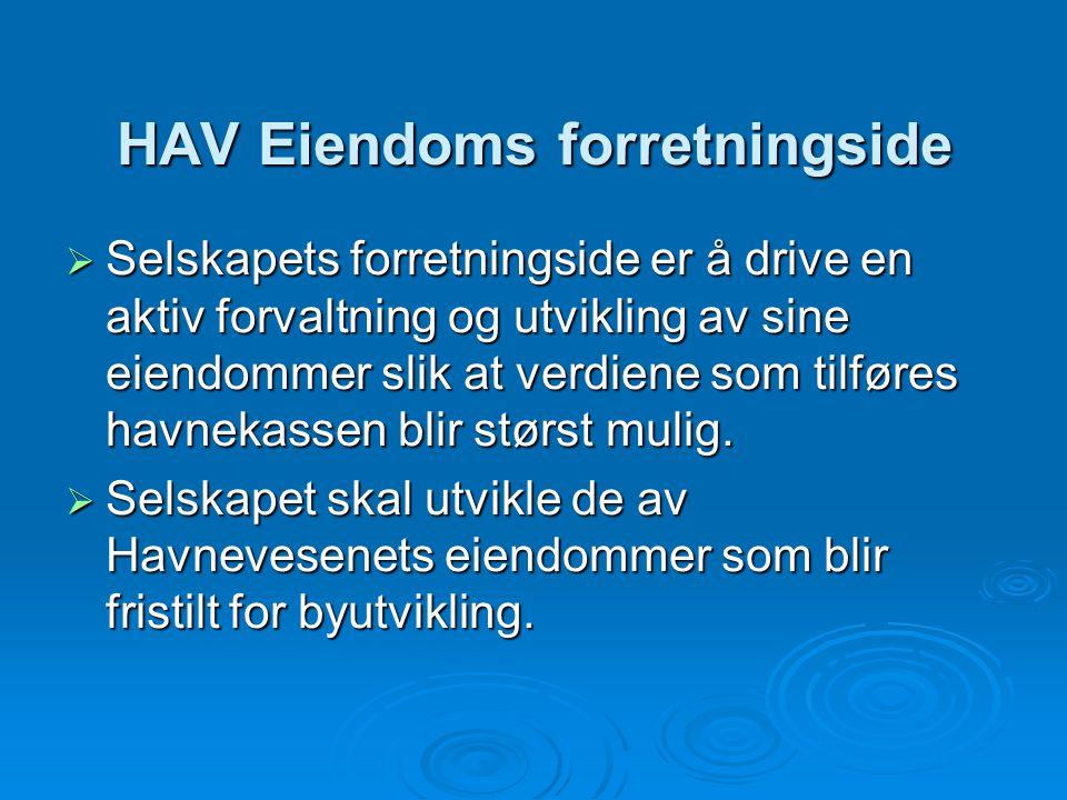 HAV Eiendoms forretningside  Selskapets forretningside er å drive en aktiv forvaltning og utvikling av sine eiendommer slik at verdiene som tilføres