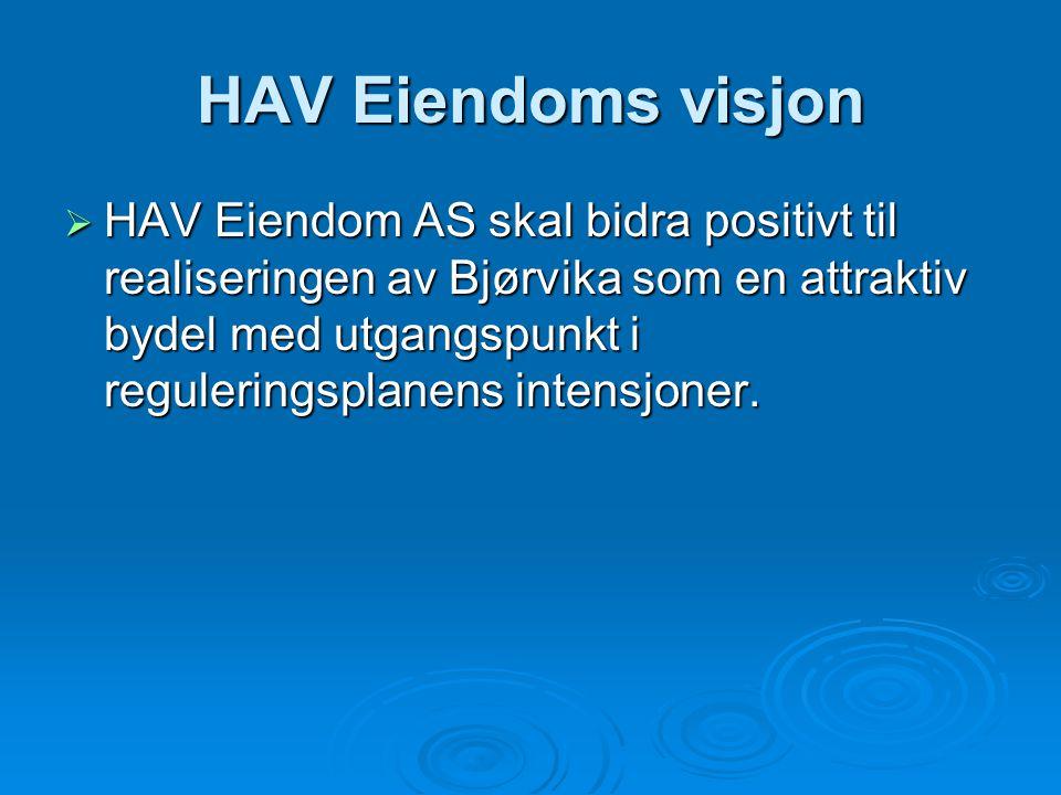 HAV Eiendoms visjon  HAV Eiendom AS skal bidra positivt til realiseringen av Bjørvika som en attraktiv bydel med utgangspunkt i reguleringsplanens in