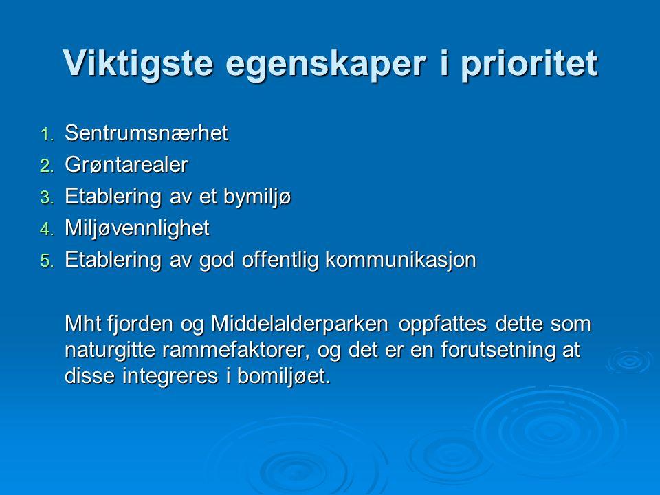 Viktigste egenskaper i prioritet 1. Sentrumsnærhet 2. Grøntarealer 3. Etablering av et bymiljø 4. Miljøvennlighet 5. Etablering av god offentlig kommu