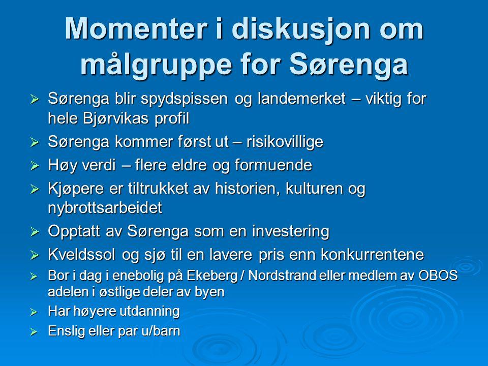 Momenter i diskusjon om målgruppe for Sørenga  Sørenga blir spydspissen og landemerket – viktig for hele Bjørvikas profil  Sørenga kommer først ut –
