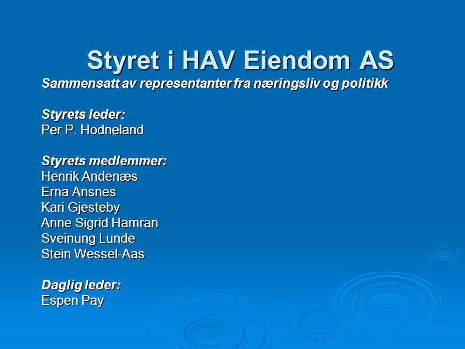 Styret i HAV Eiendom AS Sammensatt av representanter fra næringsliv og politikk Styrets leder: Per P. Hodneland Styrets medlemmer: Henrik Andenæs Erna