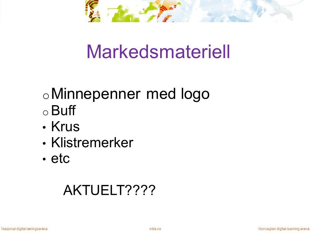 Markedsmateriell ndla.noNasjonal digital læringsarenaNorwegian digital learning arena o Minnepenner med logo o Buff • Krus • Klistremerker • etc AKTUELT