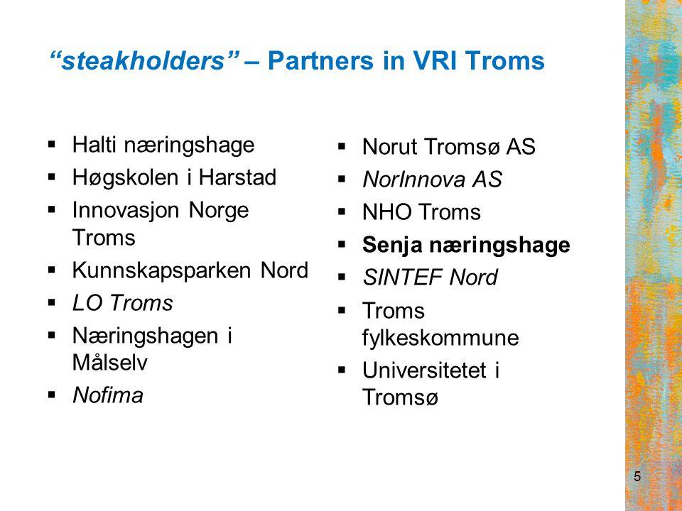 VRI Troms – priority areas in the region:  Sustainable energy  Marine resources  Tourism www.vri-troms.no