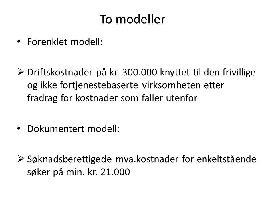 To modeller • Forenklet modell:  Driftskostnader på kr. 300.000 knyttet til den frivillige og ikke fortjenestebaserte virksomheten etter fradrag for