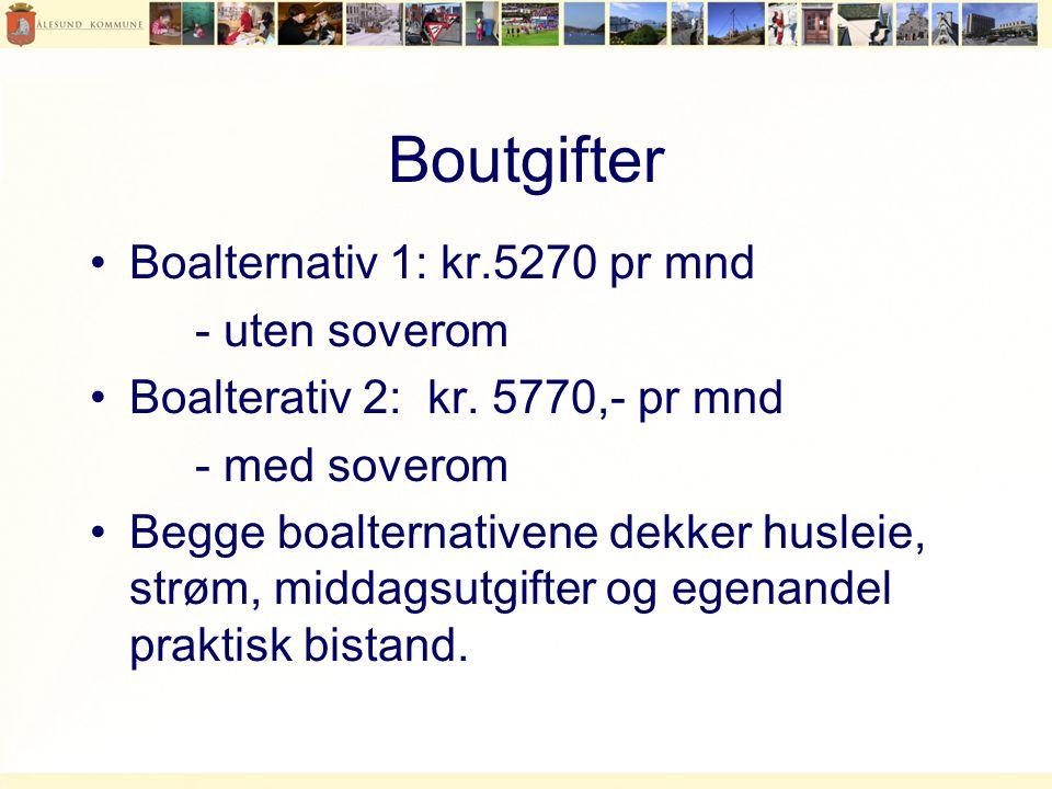 Boutgifter •Boalternativ 1: kr.5270 pr mnd - uten soverom •Boalterativ 2: kr.