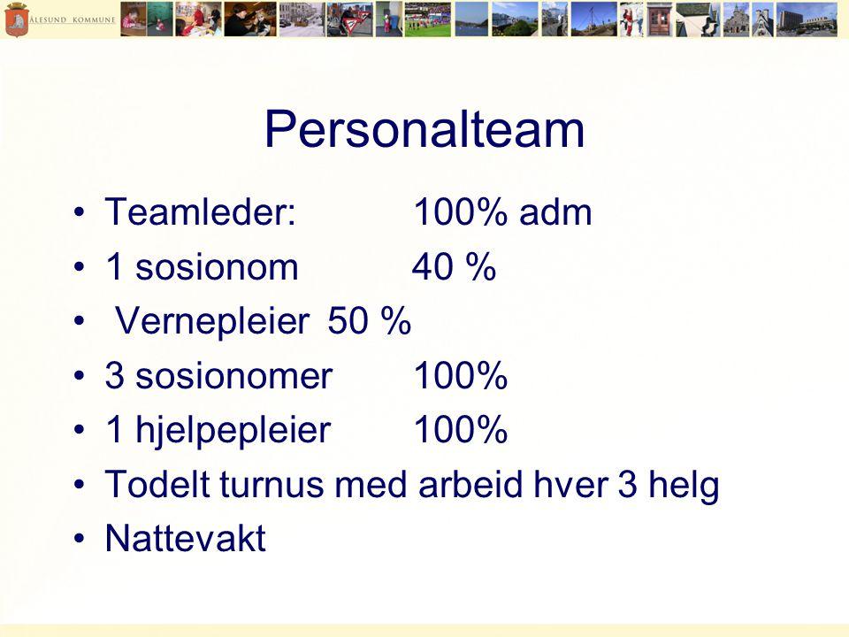 Personalteam •Teamleder: 100% adm •1 sosionom 40 % • Vernepleier 50 % •3 sosionomer 100% •1 hjelpepleier 100% •Todelt turnus med arbeid hver 3 helg •Nattevakt