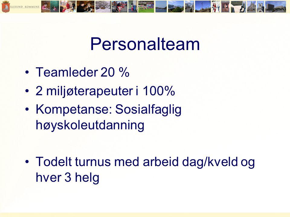 Personalteam •Teamleder 20 % •2 miljøterapeuter i 100% •Kompetanse: Sosialfaglig høyskoleutdanning •Todelt turnus med arbeid dag/kveld og hver 3 helg