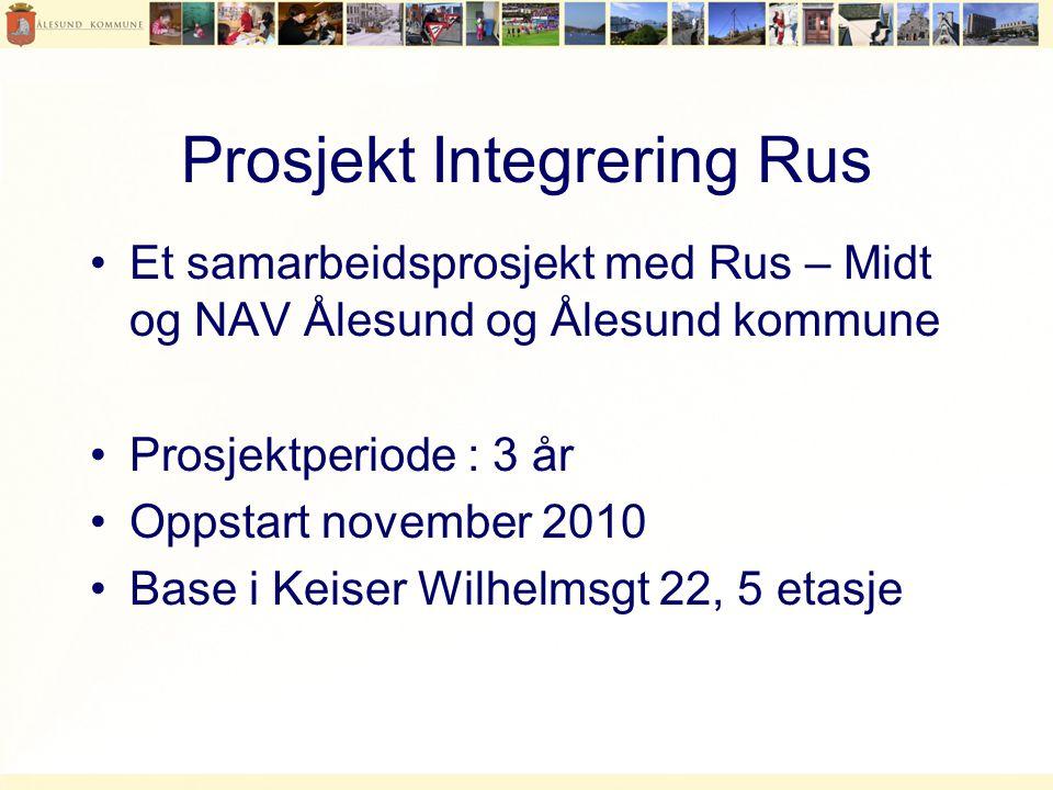 Prosjekt Integrering Rus •Et samarbeidsprosjekt med Rus – Midt og NAV Ålesund og Ålesund kommune •Prosjektperiode : 3 år •Oppstart november 2010 •Base i Keiser Wilhelmsgt 22, 5 etasje
