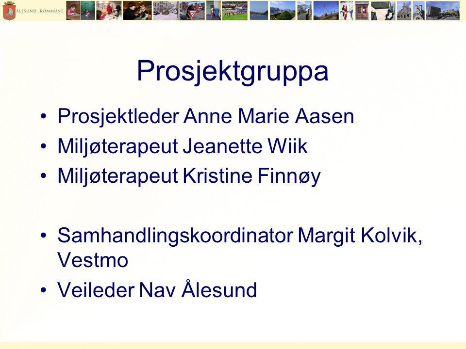 Prosjektgruppa •Prosjektleder Anne Marie Aasen •Miljøterapeut Jeanette Wiik •Miljøterapeut Kristine Finnøy •Samhandlingskoordinator Margit Kolvik, Vestmo •Veileder Nav Ålesund
