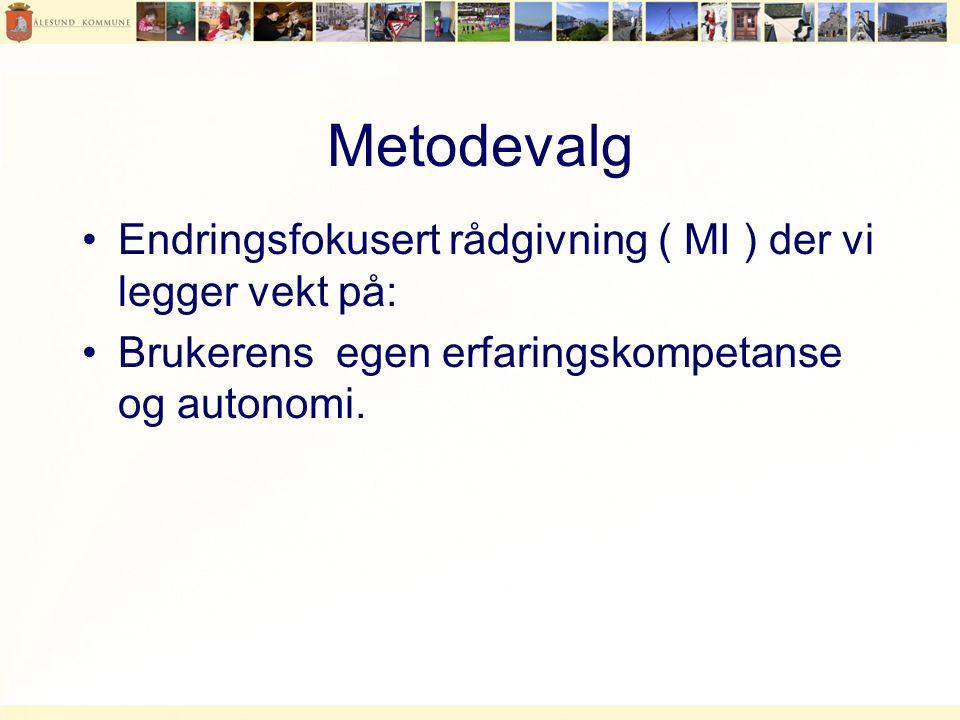 Metodevalg •Endringsfokusert rådgivning ( MI ) der vi legger vekt på: •Brukerens egen erfaringskompetanse og autonomi.