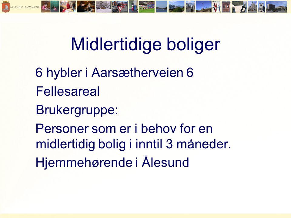 Midlertidige boliger 6 hybler i Aarsætherveien 6 Fellesareal Brukergruppe: Personer som er i behov for en midlertidig bolig i inntil 3 måneder.