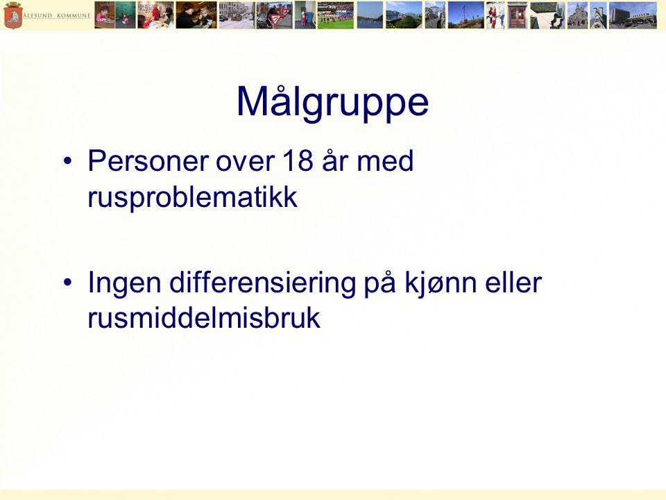 Målgruppe •Personer over 18 år med rusproblematikk •Ingen differensiering på kjønn eller rusmiddelmisbruk