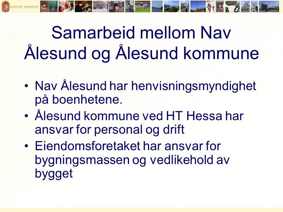 Samarbeid mellom Nav Ålesund og Ålesund kommune •Nav Ålesund har henvisningsmyndighet på boenhetene.