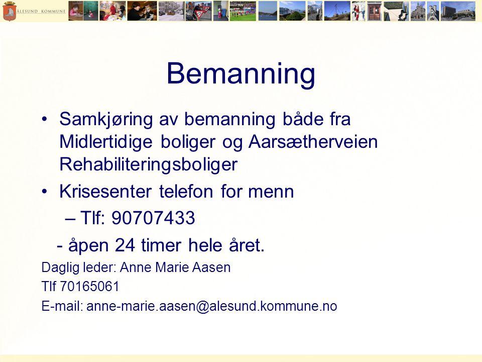 Bemanning •Samkjøring av bemanning både fra Midlertidige boliger og Aarsætherveien Rehabiliteringsboliger •Krisesenter telefon for menn –Tlf: 90707433 - åpen 24 timer hele året.