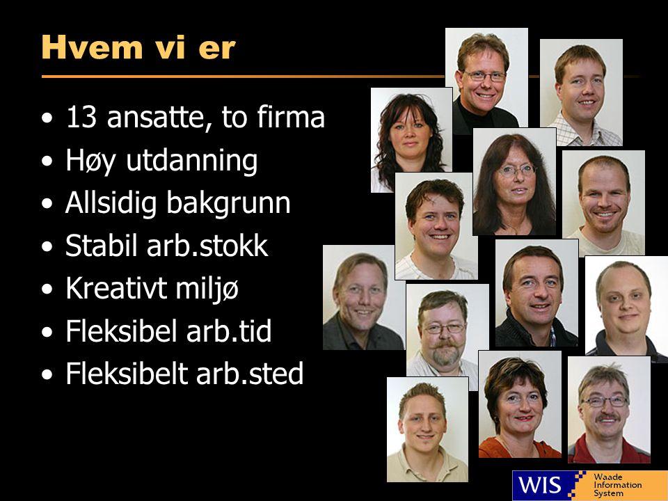 Hvem vi er •13 ansatte, to firma •Høy utdanning •Allsidig bakgrunn •Stabil arb.stokk •Kreativt miljø •Fleksibel arb.tid •Fleksibelt arb.sted