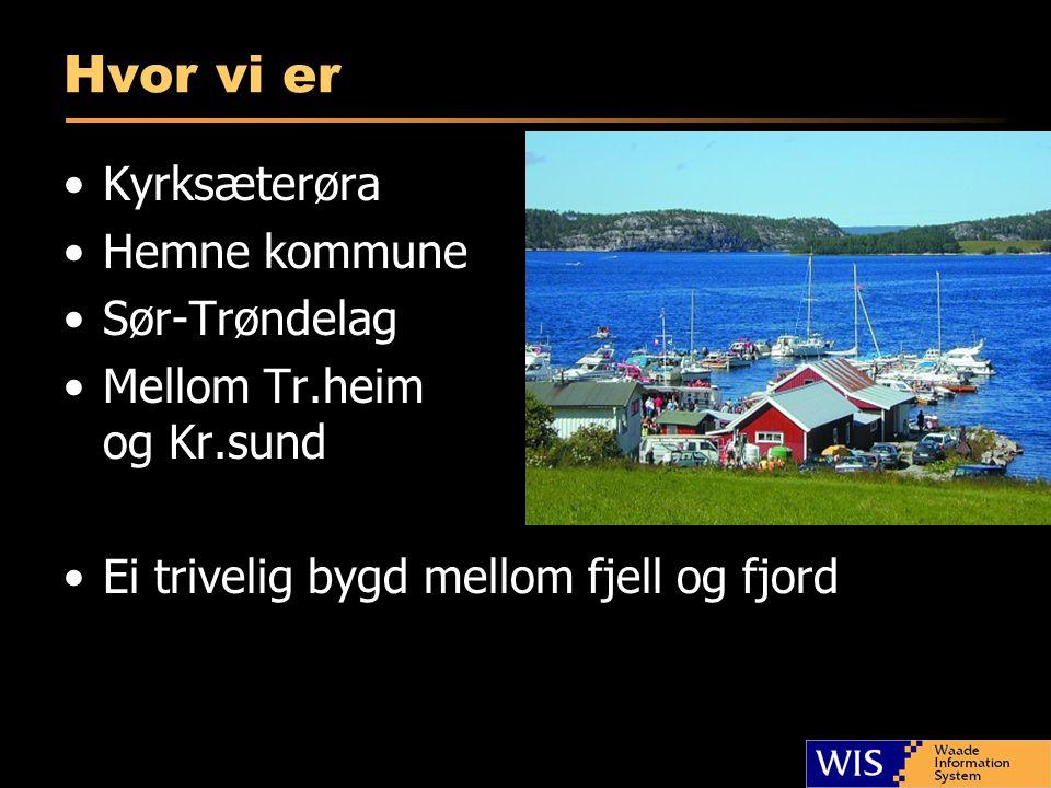 Hvor vi er •Kyrksæterøra •Hemne kommune •Sør-Trøndelag •Mellom Tr.heim og Kr.sund •Ei trivelig bygd mellom fjell og fjord