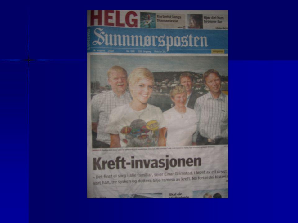 Bakgrunn  26000 nye krefttilfeller  11000 dødsfall pga kreftsykdom  Lidelse  Tap  Sykefravær  Økonomi Kilde: Cancer in Norway 2008(Kreftregisteret.no)