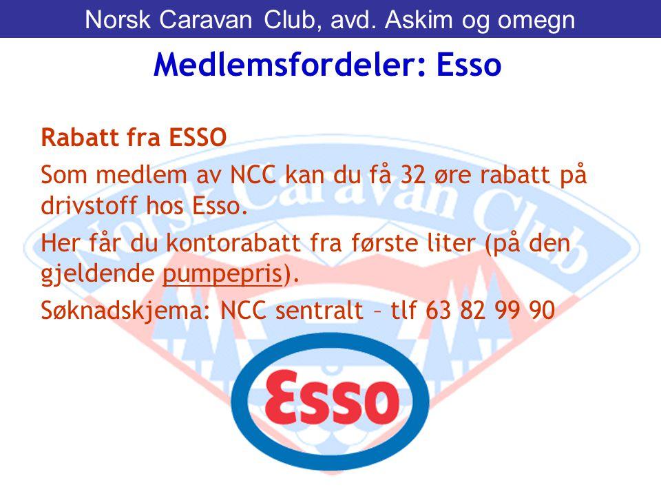 Rabatt fra ESSO Som medlem av NCC kan du få 32 øre rabatt på drivstoff hos Esso. Her får du kontorabatt fra første liter (på den gjeldende pumpepris).