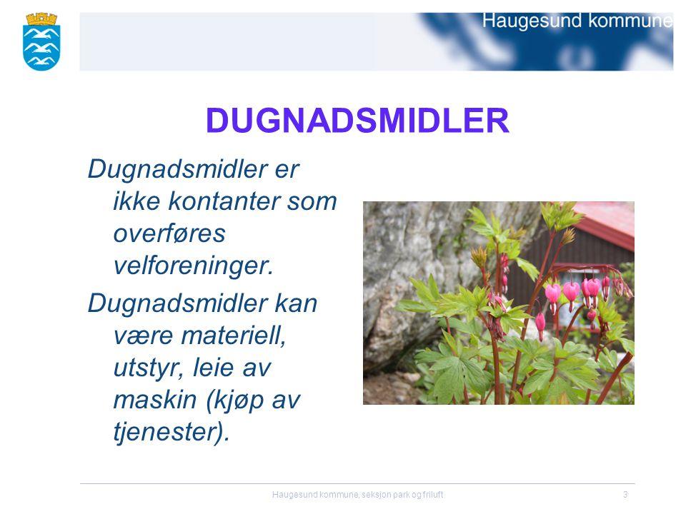 Haugesund kommune, seksjon park og friluft4 DUGNADSMIDLER For å kunne søke dugnadsmidler må velforeningen vær innmeldt i VFU og ha betalt kontingent.