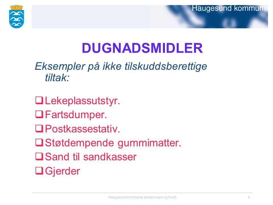 Haugesund kommune, seksjon park og friluft6 DUGNADSMIDLER Eksempler på ikke tilskuddsberettige tiltak:  Lekeplassutstyr.