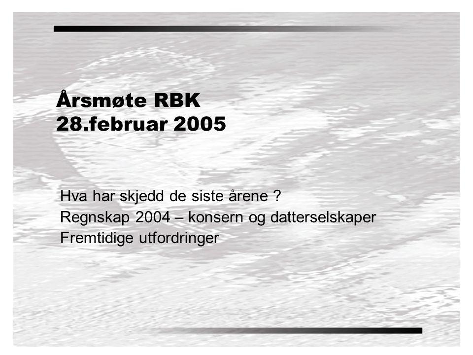 Årsmøte RBK 28.februar 2005 Hva har skjedd de siste årene .