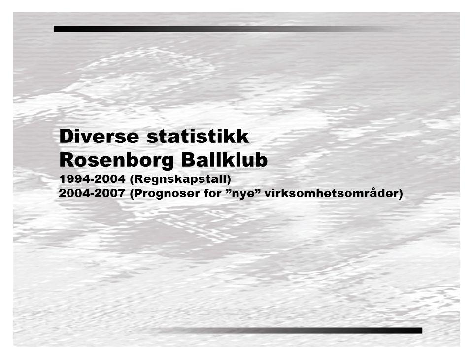 Diverse statistikk Rosenborg Ballklub 1994-2004 (Regnskapstall) 2004-2007 (Prognoser for nye virksomhetsområder)