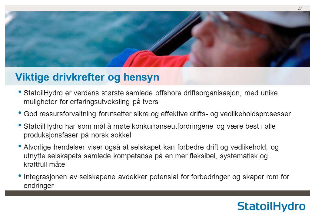 27 • StatoilHydro er verdens største samlede offshore driftsorganisasjon, med unike muligheter for erfaringsutveksling på tvers • God ressursforvaltni