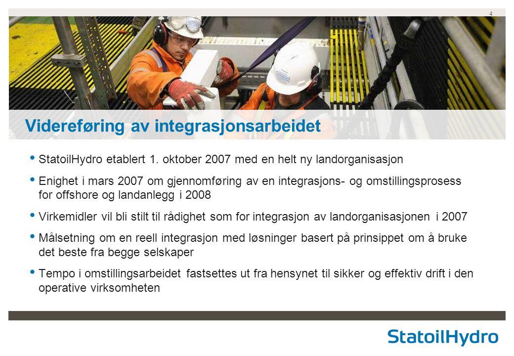 4 • StatoilHydro etablert 1. oktober 2007 med en helt ny landorganisasjon • Enighet i mars 2007 om gjennomføring av en integrasjons- og omstillingspro