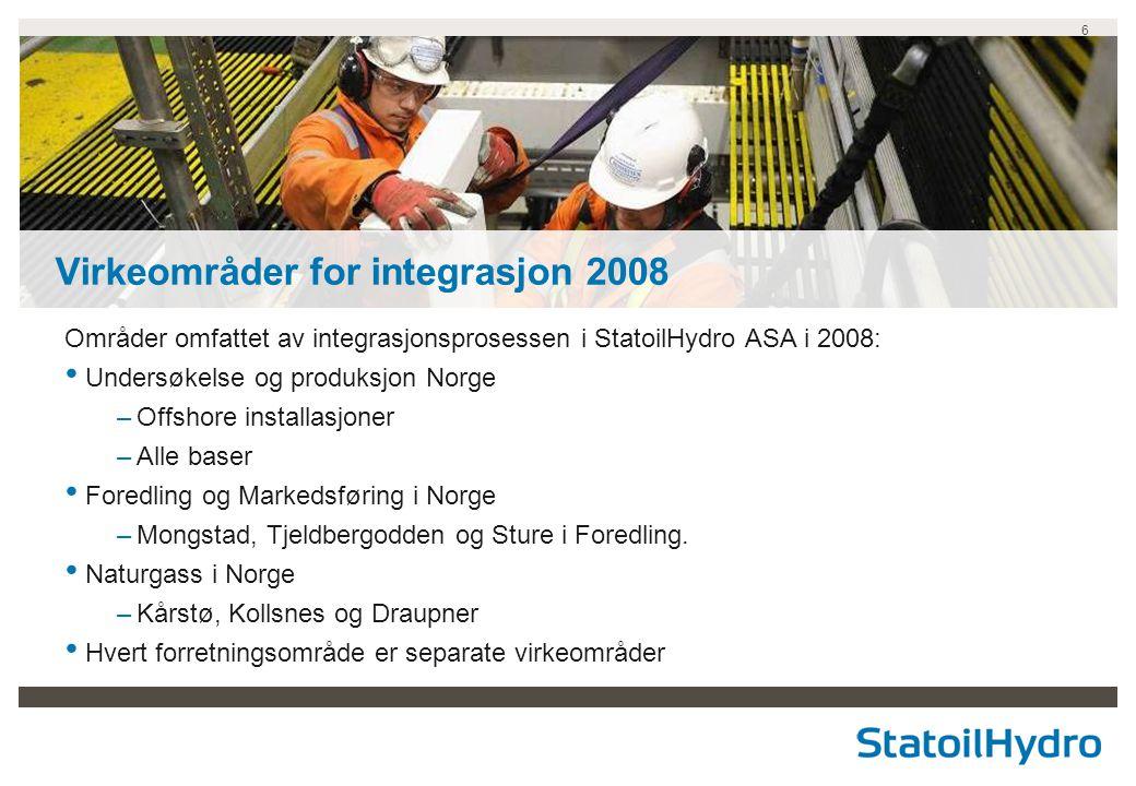 6 Områder omfattet av integrasjonsprosessen i StatoilHydro ASA i 2008: • Undersøkelse og produksjon Norge –Offshore installasjoner –Alle baser • Fored