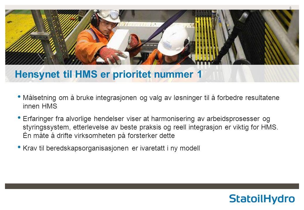8 • Målsetning om å bruke integrasjonen og valg av løsninger til å forbedre resultatene innen HMS • Erfaringer fra alvorlige hendelser viser at harmon