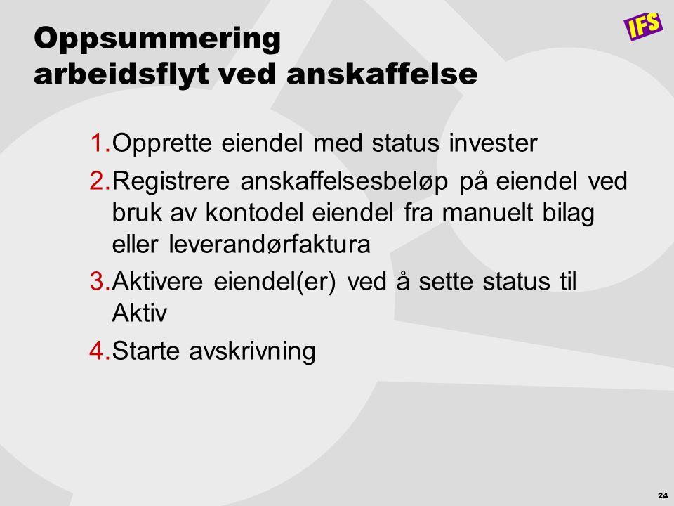 24 Oppsummering arbeidsflyt ved anskaffelse 1.Opprette eiendel med status invester 2.Registrere anskaffelsesbeløp på eiendel ved bruk av kontodel eien