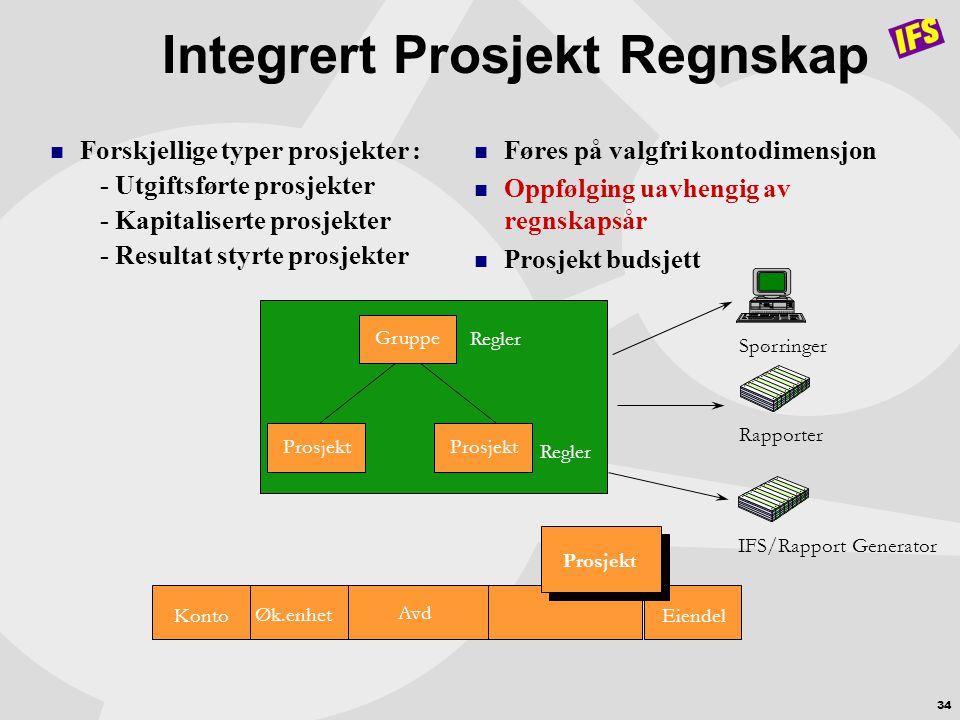 34 Integrert Prosjekt Regnskap  Forskjellige typer prosjekter : - Utgiftsførte prosjekter - Kapitaliserte prosjekter - Resultat styrte prosjekter  F
