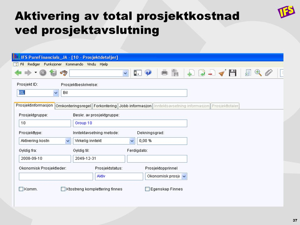 37 Aktivering av total prosjektkostnad ved prosjektavslutning