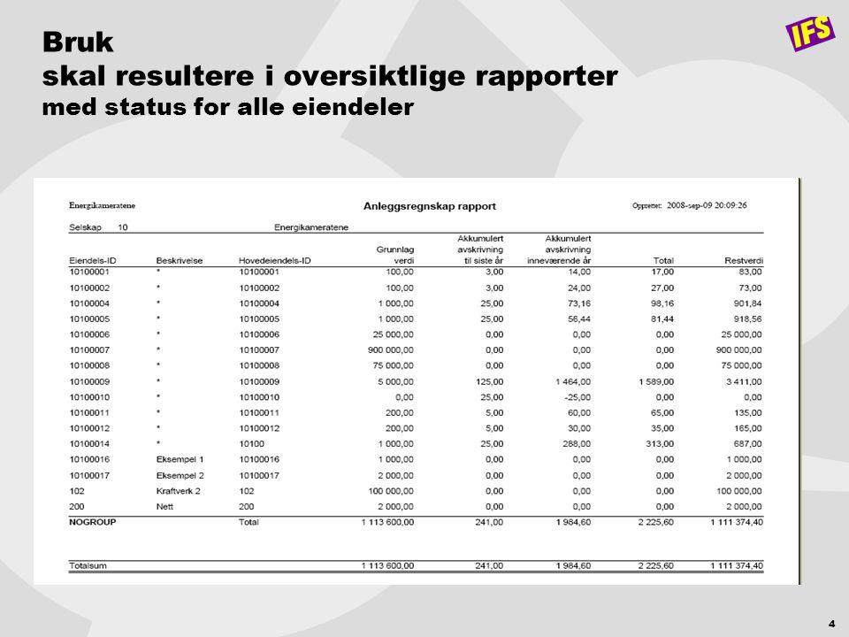 4 Bruk skal resultere i oversiktlige rapporter med status for alle eiendeler