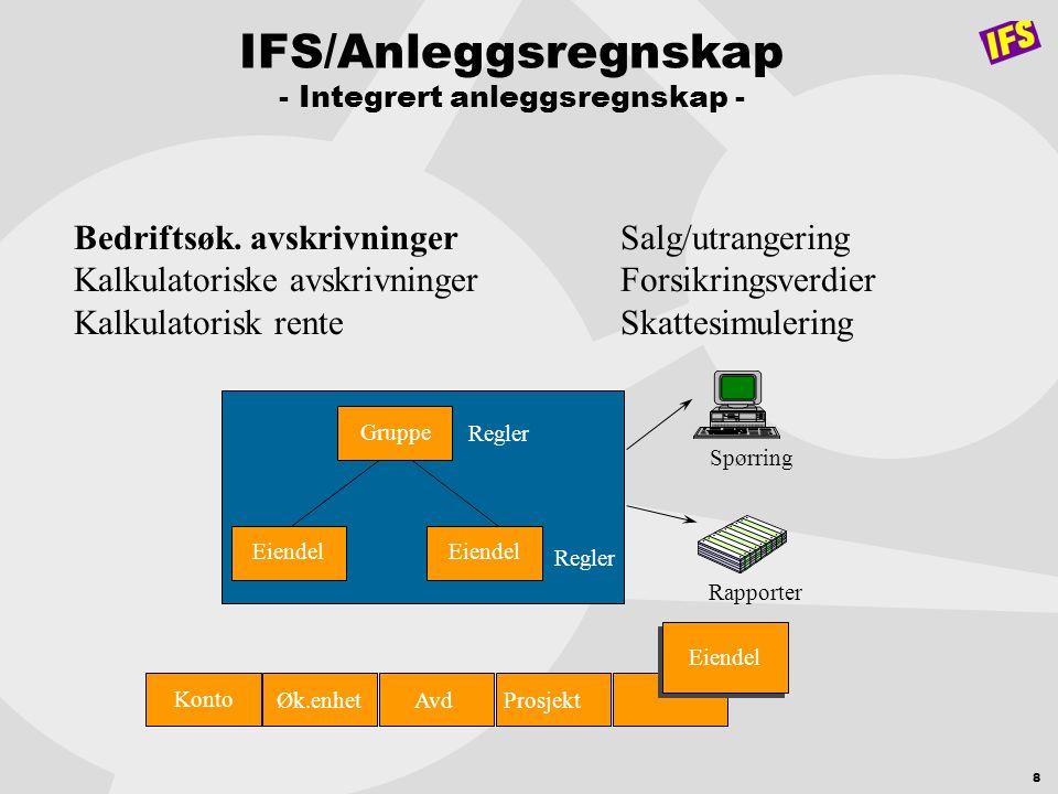 8 IFS/Anleggsregnskap - Integrert anleggsregnskap - Bedriftsøk. avskrivninger Kalkulatoriske avskrivninger Kalkulatorisk rente Salg/utrangering Forsik