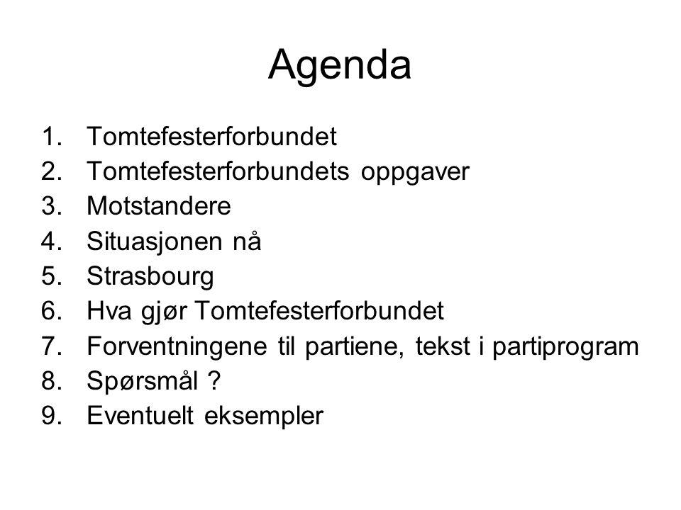 Agenda 1.Tomtefesterforbundet 2.Tomtefesterforbundets oppgaver 3.Motstandere 4.Situasjonen nå 5.Strasbourg 6.Hva gjør Tomtefesterforbundet 7.Forventni