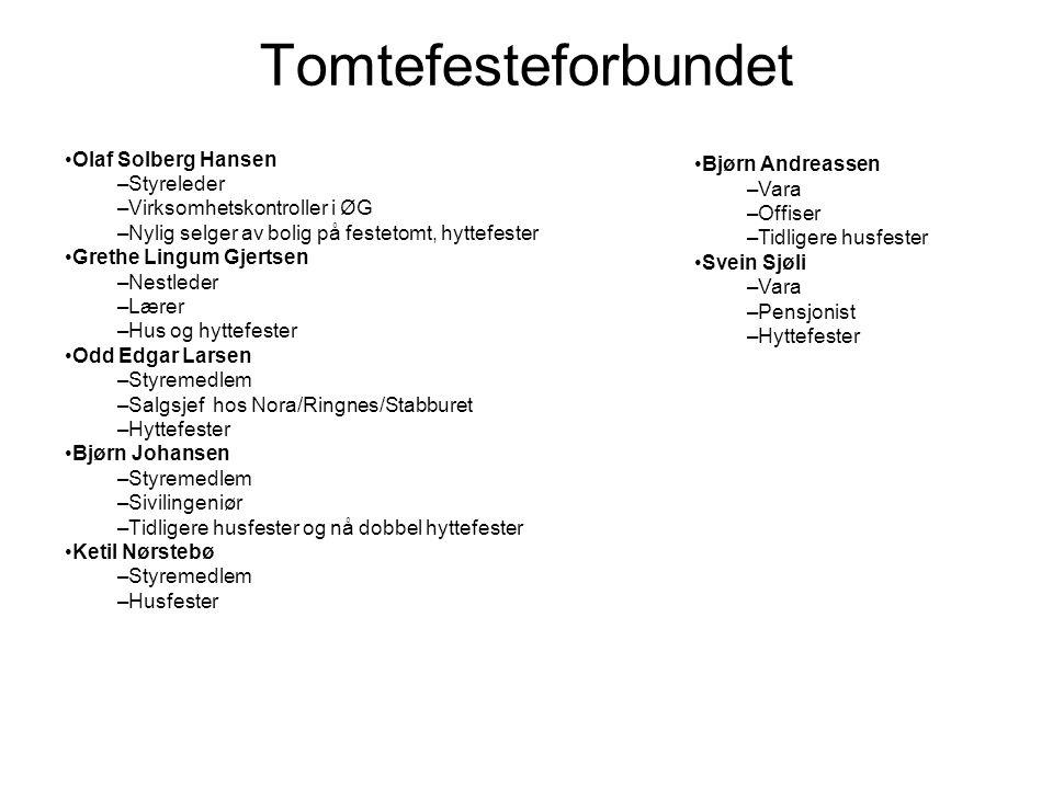 Tomtefesteforbundet •Olaf Solberg Hansen –Styreleder –Virksomhetskontroller i ØG –Nylig selger av bolig på festetomt, hyttefester •Grethe Lingum Gjert