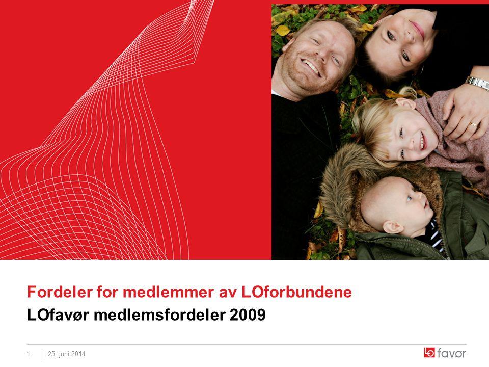 25. juni 20141 Fordeler for medlemmer av LOforbundene LOfavør medlemsfordeler 2009