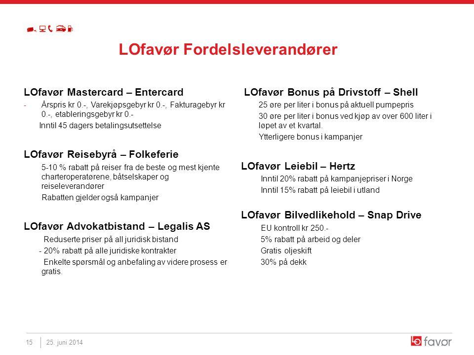LOfavør Mastercard – Entercard -Årspris kr 0.-, Varekjøpsgebyr kr 0.-, Fakturagebyr kr 0.-, etableringsgebyr kr 0.- Inntil 45 dagers betalingsutsettel