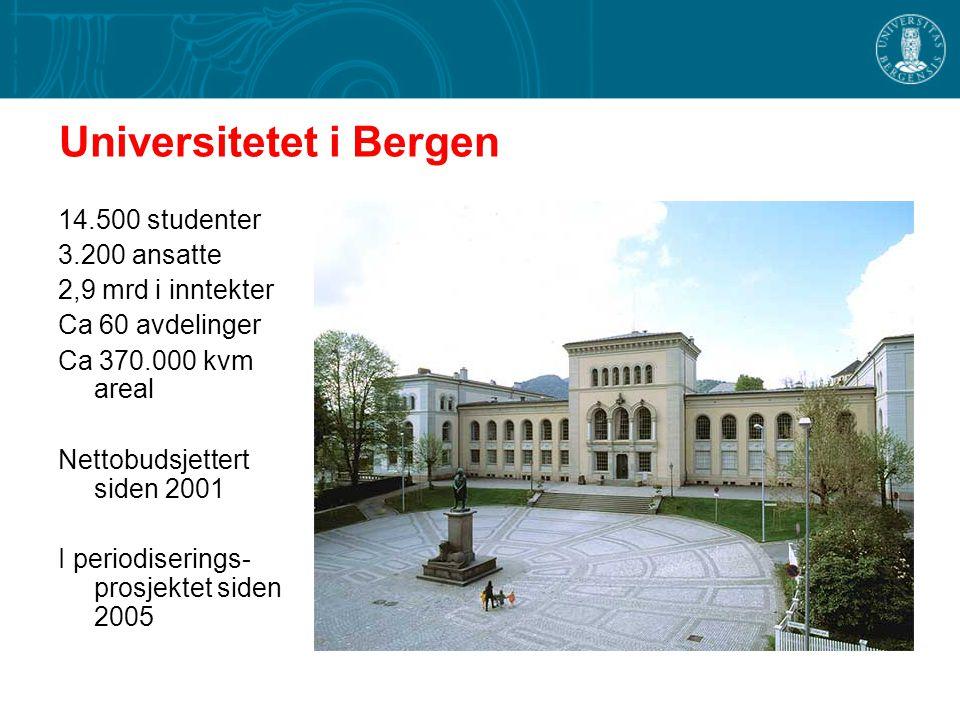 Universitetet i Bergen 14.500 studenter 3.200 ansatte 2,9 mrd i inntekter Ca 60 avdelinger Ca 370.000 kvm areal Nettobudsjettert siden 2001 I periodis