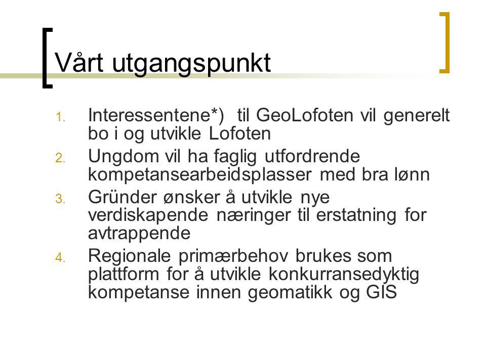 Vårt utgangspunkt 1. Interessentene*) til GeoLofoten vil generelt bo i og utvikle Lofoten 2.